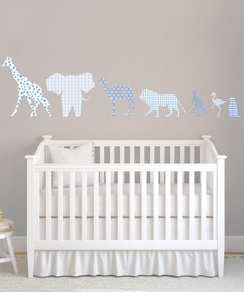Blue Animal Textstyles Wall Decal Set