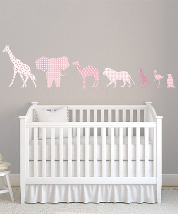 Pink Animal Textstyles Wall Decal Set