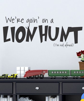 Black 'Lion Hunt' Wall Decal
