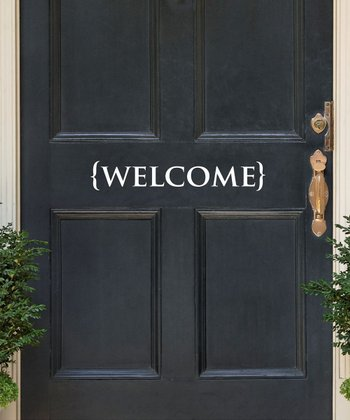 White 'Welcome' Bracket Wall Decal