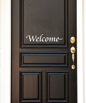 White 'Welcome' Wall Decal