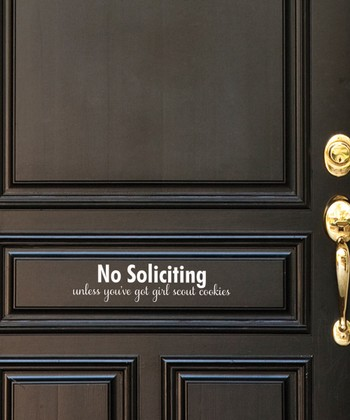 White 'No Soliciting' Wall Decal