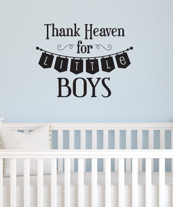 Black 'Thank Heaven for Little Boys' Wall Decal