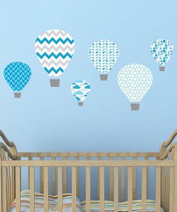 Blue Hot-Air Balloon Wall Decal Set