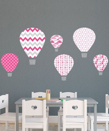 Pink Hot-Air Balloon Wall Decal Set