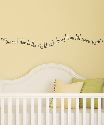 Black 'Second Star to the Right' Wall Decal