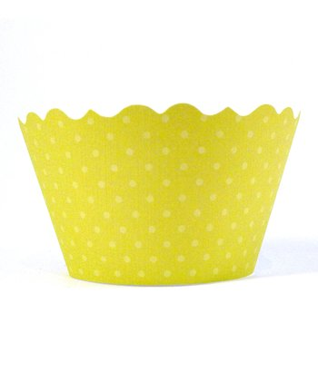 Chartreuse Polka Dot Cupcake Wrapper - Set of 24