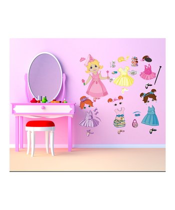 Blonde & Brown-Haired Doll Wall Decal Set