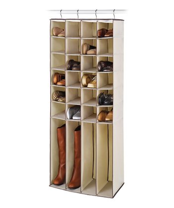 Natural 28-Pocket Hanging Shoe & Boot Organizer