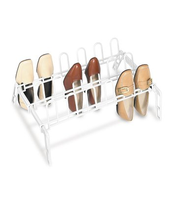 White Nine-Pair Floor Shoe Rack