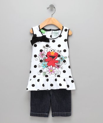 Black Polka Dot Elmo Tank & Shorts - Toddler