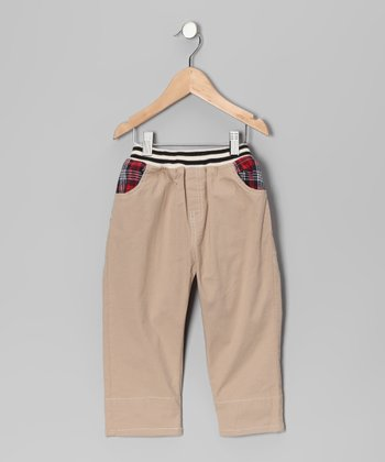 Tan Contrast Plaid Pants - Toddler & Boys