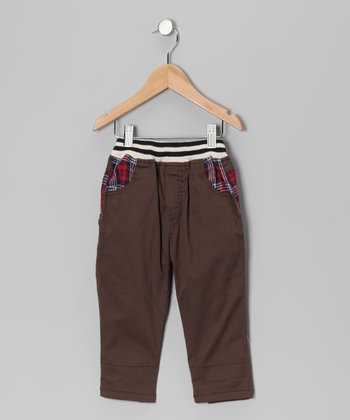 Brown Contrast Plaid Pants - Toddler & Boys