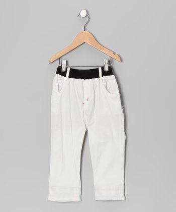 White Contrast Plaid Pants - Toddler & Boys