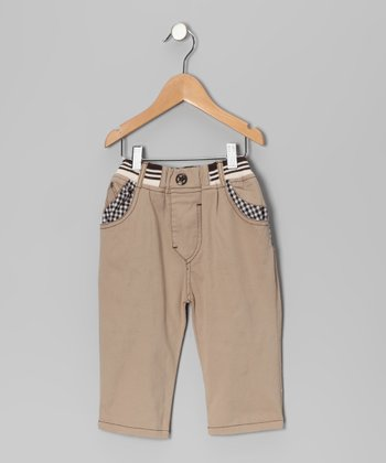 Khaki Contrast Gingham Pants - Toddler & Boys