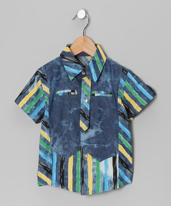 Blue & Yellow Stripe Button-Up - Toddler