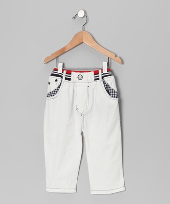 White Contrast Gingham Pants - Toddler & Boys