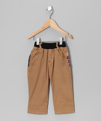 Khaki Contrast Plaid Pants - Toddler & Boys