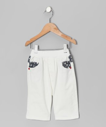 White & Red Contrast Star Pants - Toddler & Boys