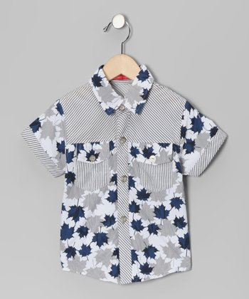 Gray & Blue Leaf Stripe Button-Up - Toddler & Boys