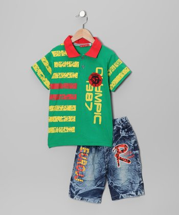 Green 'Olympic' Polo & Jeans - Toddler & Boys