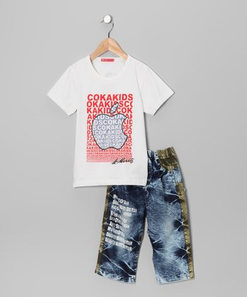 White 'Coka' Tee & Jeans - Toddler & Boys