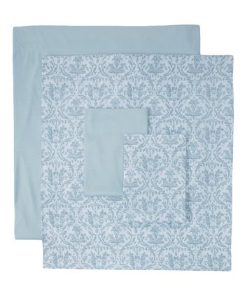 Blue Winter Damask Sheet Set