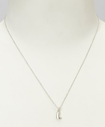 Sterling Silver 'L' Pendant Necklace