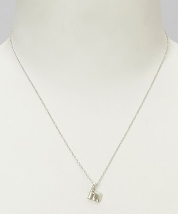 Sterling Silver 'M' Pendant Necklace