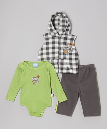 Green & Gray Slam Dunk Raccoon Three-Piece Set - Infant