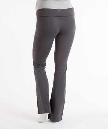 Gray Plus-Size Maternity Yoga Pants