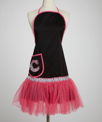Black Appliqué Initial Apron - Adult