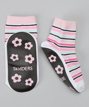 Pink & Black Stripe Gripper Socks