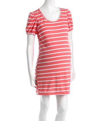 Coral & White Stripe Puff-Sleeve Dress