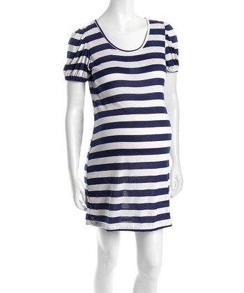 Navy & White Stripe Puff-Sleeve Dress