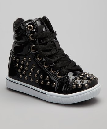 Black Metallic Studded Connie Hi-Top Sneaker