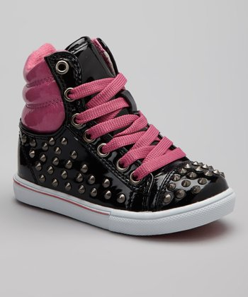 Black & Fuchsia Metallic Studded Connie Hi-Top Sneaker