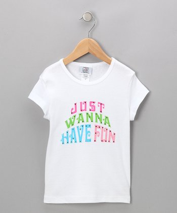 White 'Just Wanna Have Fun' Tee - Girls