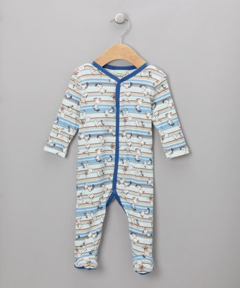 Blue Striped Snoopy Footie