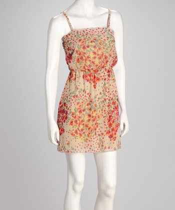 Orange Floral Chiffon Empire-Waist Dress