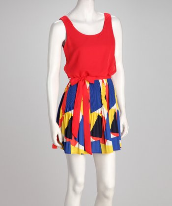 Red & Blue Primary Sleeveless Dress