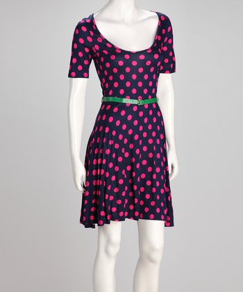 Pink Polka Dot Belted Dress