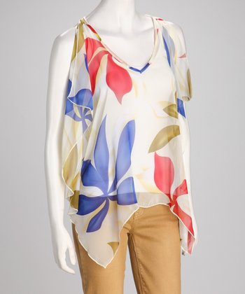 Ivory Floral Sheer Sidetail Top