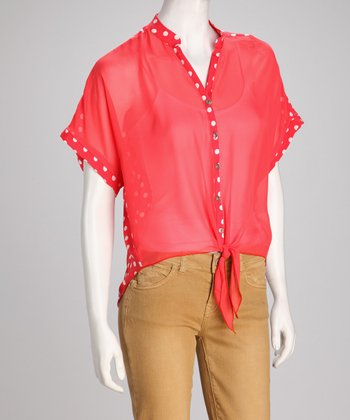 Red Polka Dot Hi-Low Button-Up Top