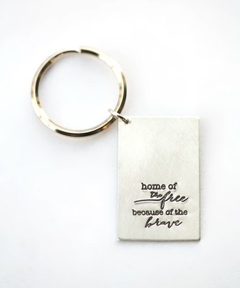 Silver Expressions 'Because of the Brave' Key Chain