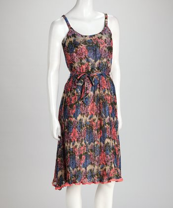 Pink & Blue Floral Tie-Waist Dress