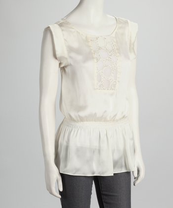 Ecru Embroidered Top