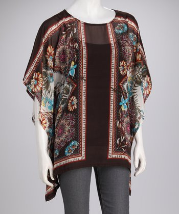 Brown Floral Poncho