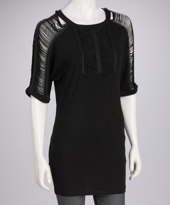 Black Sheer-Shoulder Tunic