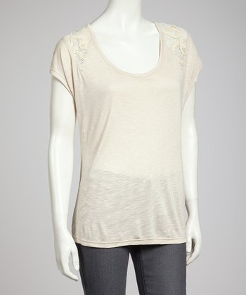 Sand Crocheted Tissue Top